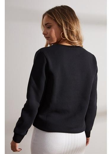 Setre Antrasit Önü Baskılı Uzun Kol Sweatshirt Siyah